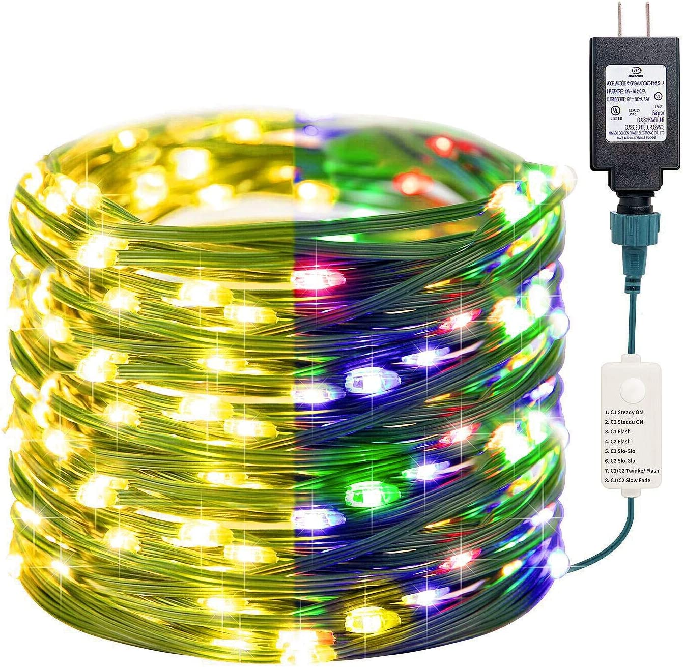 LED Color Changing Christmas Lights, 8 Modes 38 Ft. 96 LED Fairy Twinkle Plug in Multicolor Lights, Waterproof Green PVC Wire String Lights for Xmas Indoor Outdoor Office Tree Wedding Party Decor