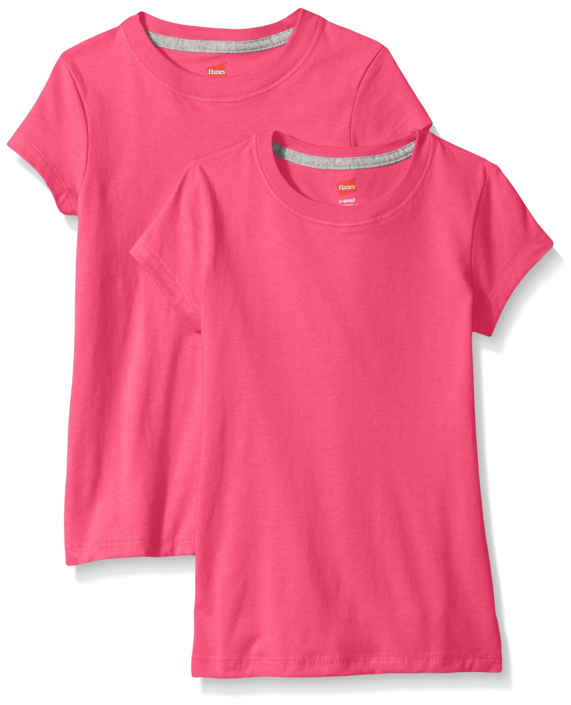 Hanes Little Girls' Jersey Cotton Tee (Pack of 2), Amaranth, Large