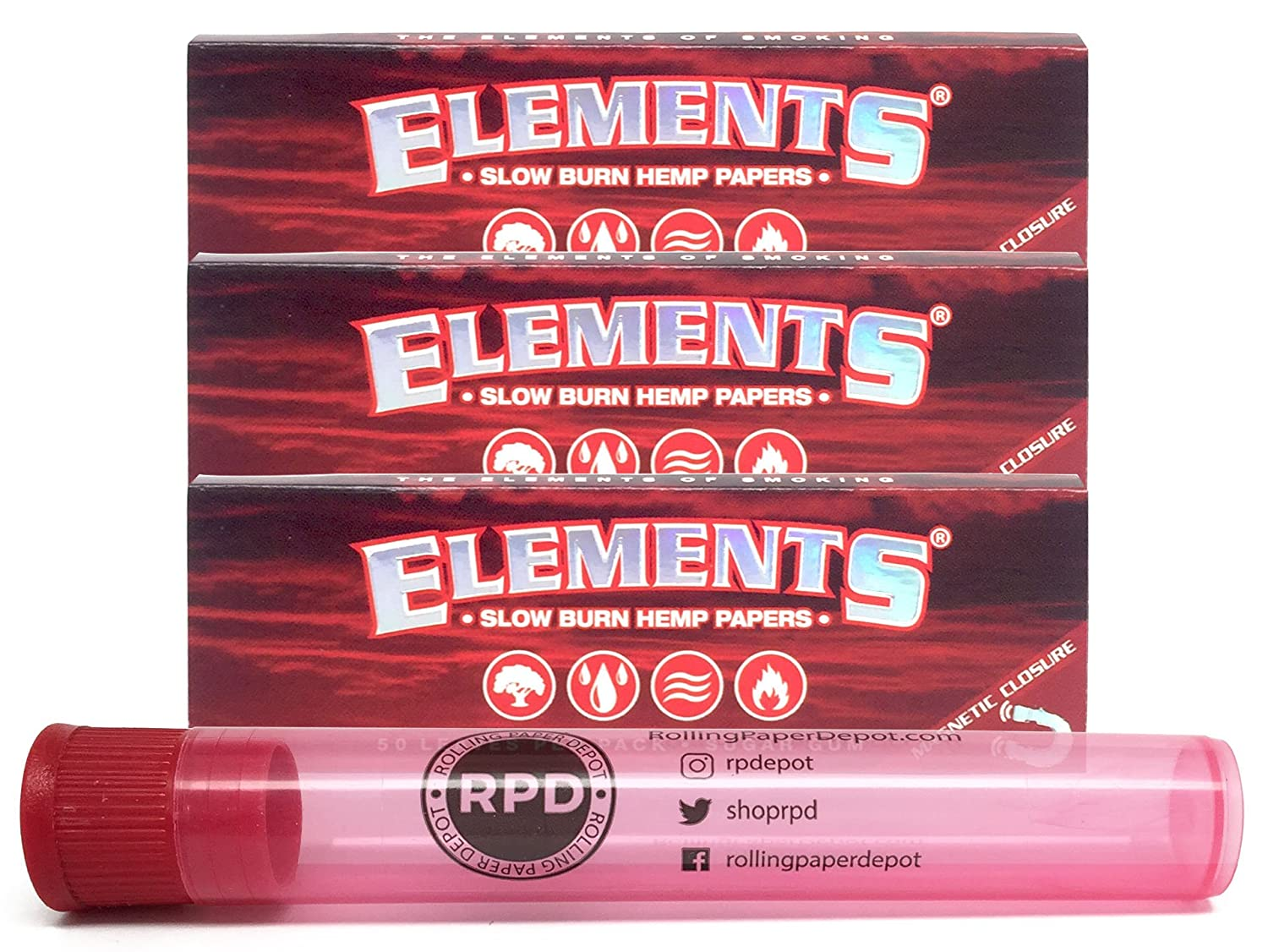 Elements Red 1 1/4 Slow Burn Hemp Papers (3 Packs) with Rolling Paper Depot  Doob Tube