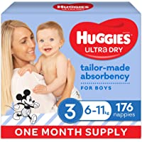 Ultra Dry Nappies Boy Size 3 (6-11kg) 1 Month Supply 176 Count