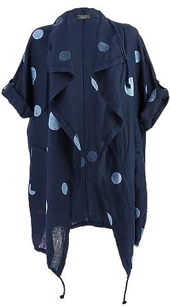 Grande Bleu Taille Veste Femme Charleselie94® Été Lin Longue 7gAqWW