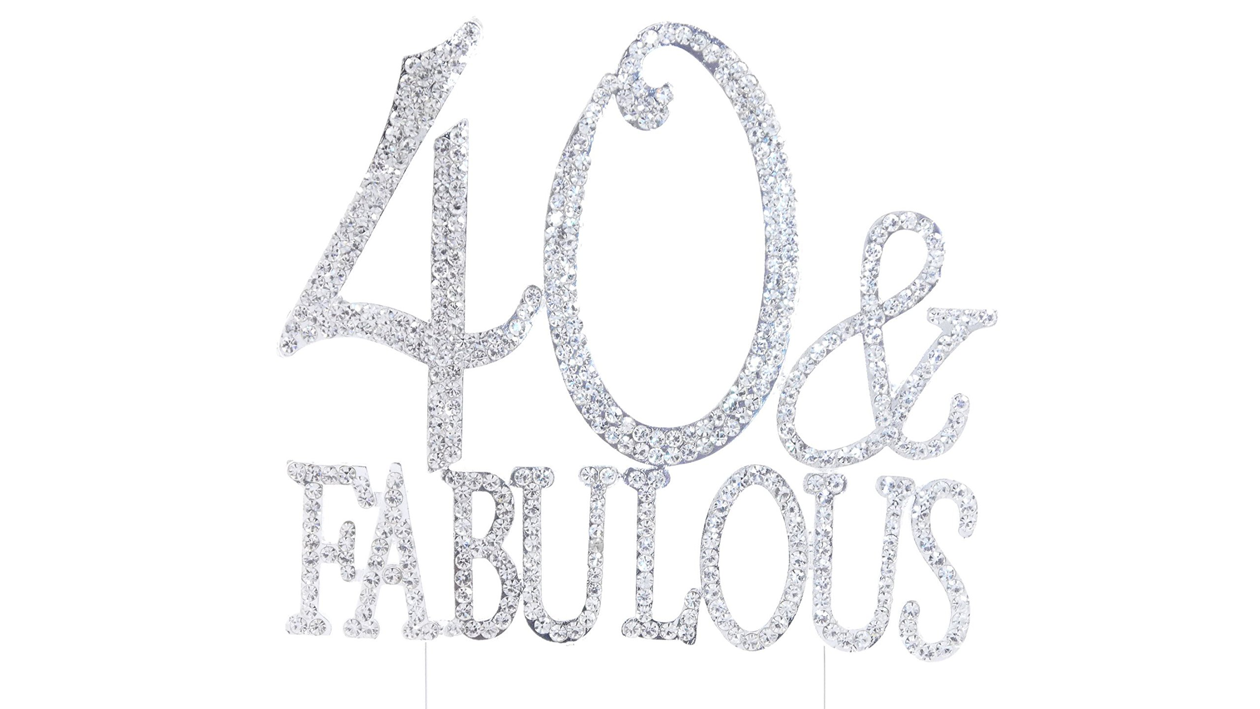 Number 40 Fabulous Silver Rhinestone Crystal Cake Topper Gold, Numbers, Letters for Wedding, Birthday, Anniversary, Party. Shine & Sparkles. RHINESTONE. BEST OFFER ON AMAZON (40 Fabulous Silver)