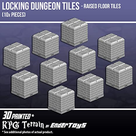 photo regarding 3d Printable Dungeon Tiles named : Locking Dungeon Tiles - Elevated Area Tiles (10x