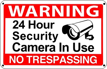 Amazon.com: 24 Hour Video Surveillance Warning CCTV Sign No ...