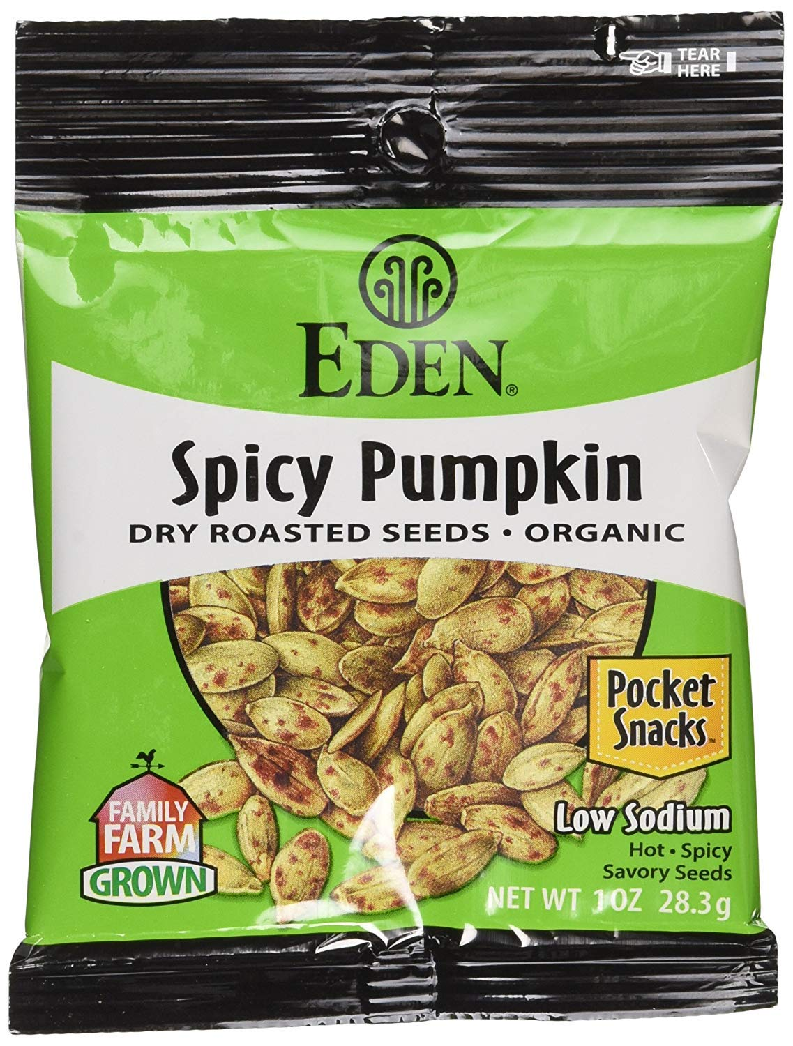 Eden Organic Spicy Pumpkin Seeds, Dry Roasted, Pocket Snacks, 1 Ounce (Pack of 36) by Eden