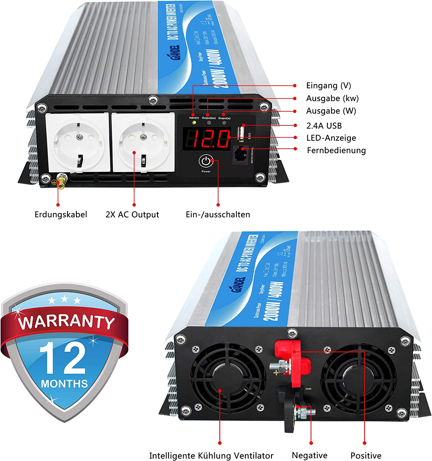 Giandel Power Inverter 2000 W 12 V To 230 V Voltage Converter With Remote Control And Led Display 2 Ac Outlets And Usb Connection For Motorhomes Lorries Cars Navigation Car Hifi