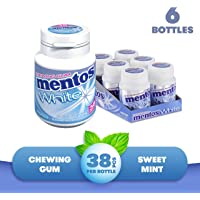 Mentos White Chewing Gum - Sweet Mint Flavour - Sugar Free - Great for Long-lasting Freshness - 38-piece Bottles (Multipack of 6 Bottles)