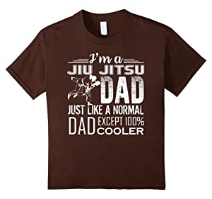 Kids Jiu Jitsu Tee Shirts - I'm A Jiu Jitsu Dad Cooler Shirts 8 Brown