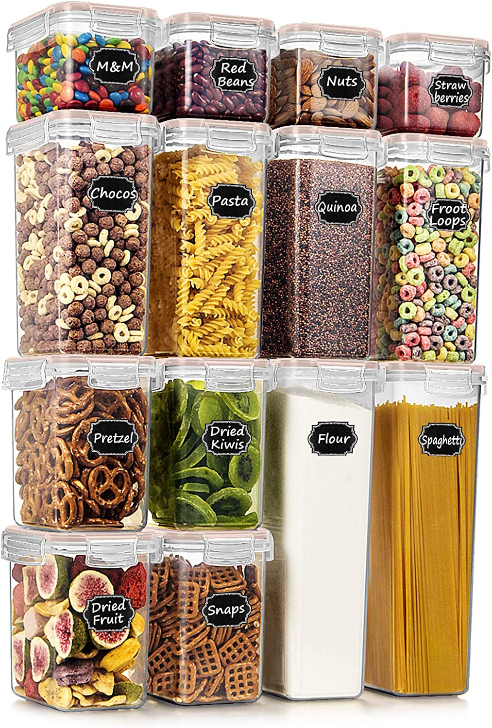Wildone Airtight Food Storage Containers - BPA Free Cereal & Dry Food Storage Containers Set of 14 for Sugar, Flour, Snack, Baking Supplies, Khaki Lid with 20 Chalkboard Labels & 1 Marker