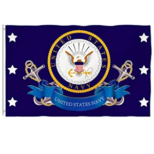 Hexagram Us Navy Flag 3X5 - Vivid Color and UV Fade Resistant - Double Sided United States Navy Flags Polyester with Brass Grommets Outdoor Decorations