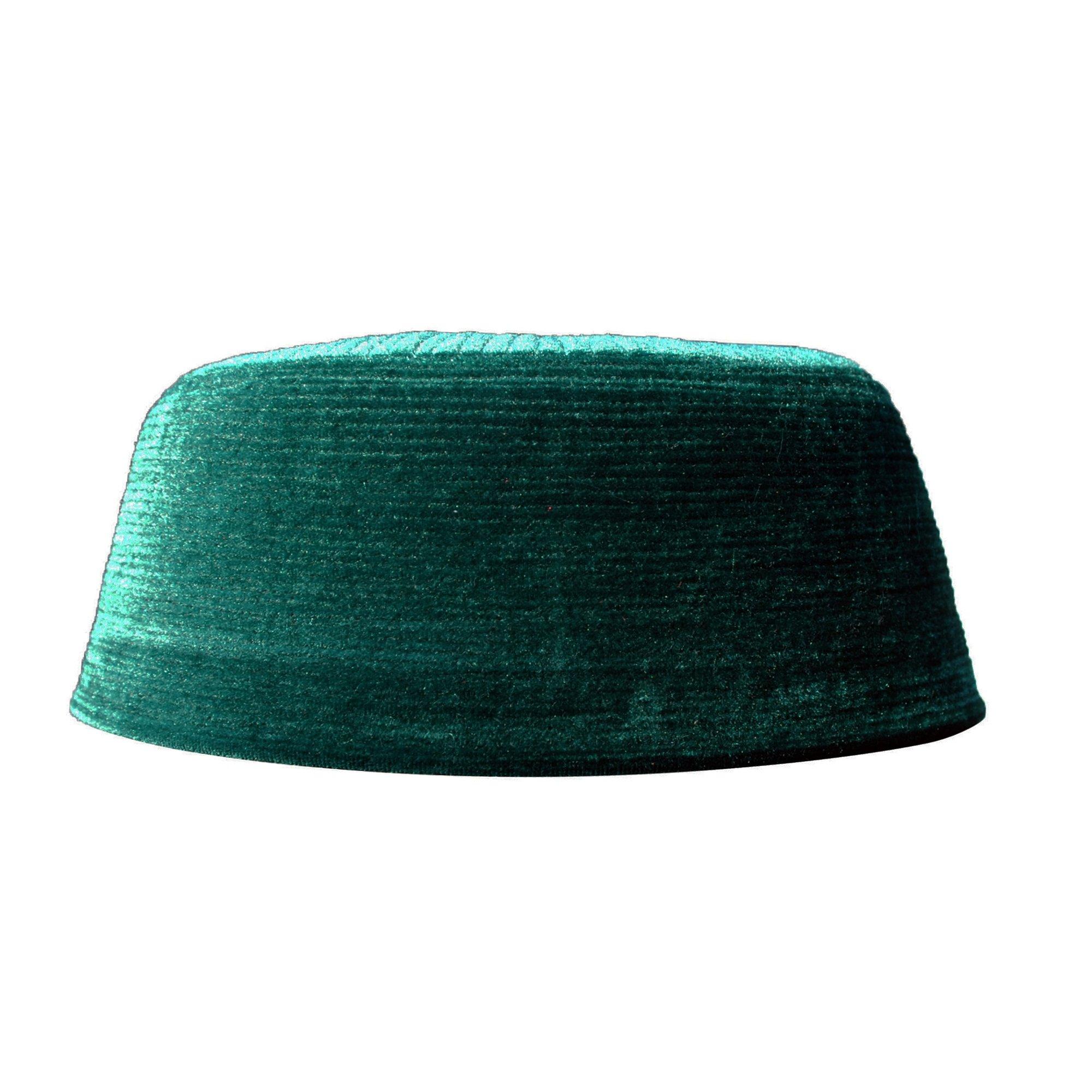 TheKufi Dark Brown Rigid Velvet Kufi Hat Turkish Chechen Style Takke Prayer Cap