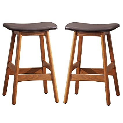 Amazoncom 25 H Wood Counter Height Stool Set Of 2 Kitchen Dining