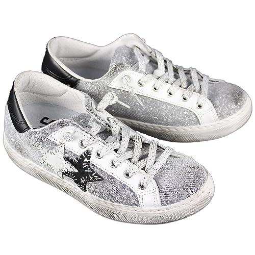 b1d8ee3da6 2 Star Scarpe Donna MOD. Sneaker Low Silver-Bianco-Nero Art.2SD1863 ...