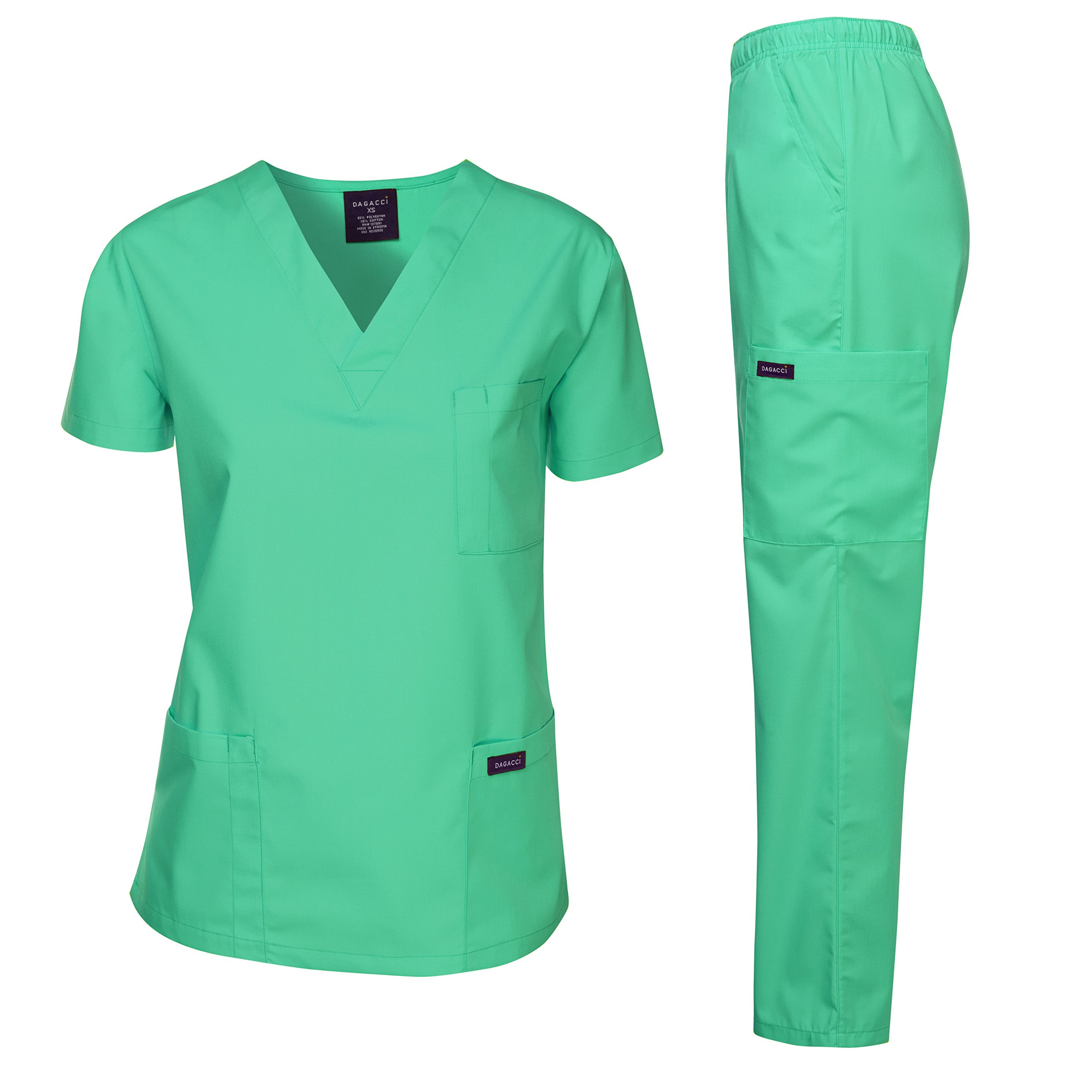 Dagacci Scrubs Medical Uniform Women and Man Scrubs Set Medical Scrubs Top and Pants, Hospital Green, Medium