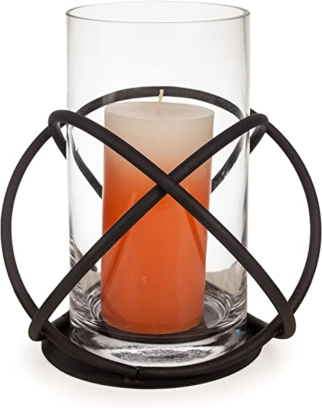 bottom half is amber color glaze interior and top half reddish brown Hurricane style candle holder Carved Urn or Jar shaped Vase