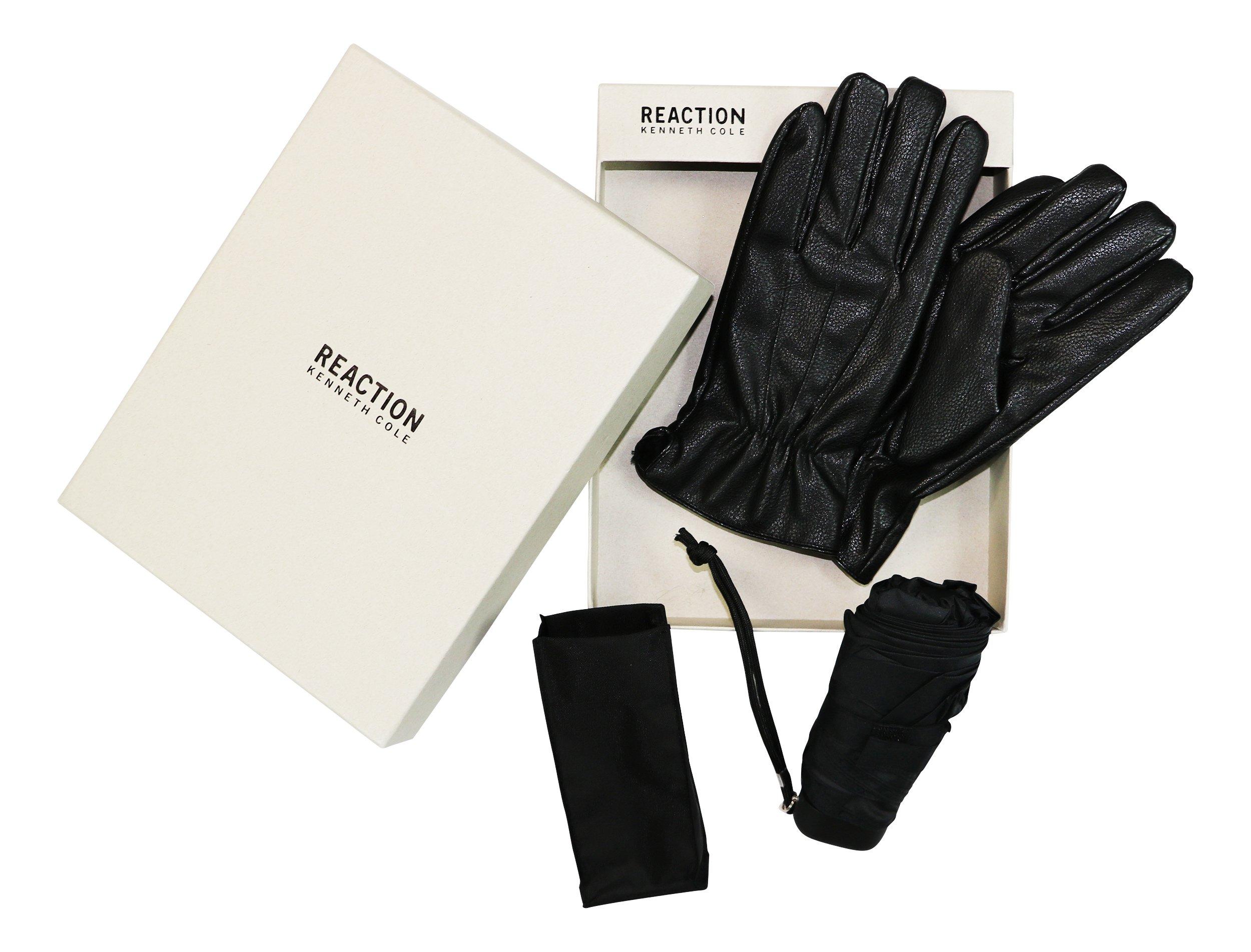 REACTION Men's Leather Gloves & Umbrella Gift Set LARGE