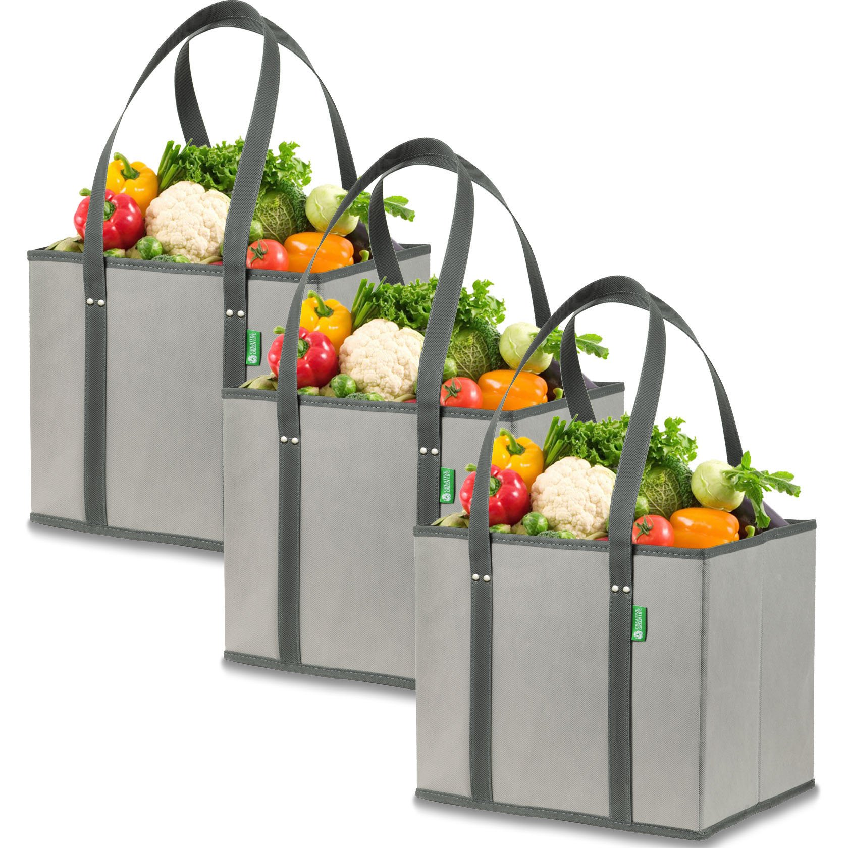 Reusable Grocery Shopping Box Bags (3 Pack - Gray). Large, Premium Quality Heavy Duty Tote Bag Set with Extra Long Handles & Reinforced Bottom. Foldable, Collapsible, Durable & Eco Friendly