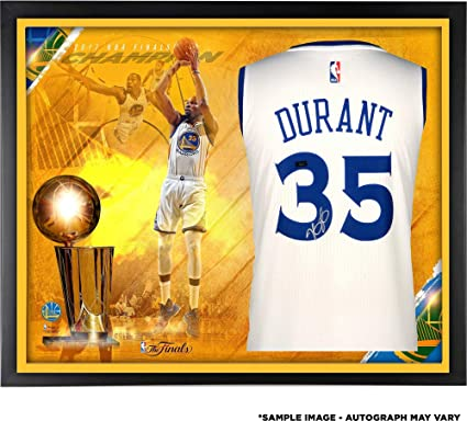 f014329134e Kevin Durant Golden State Warriors Framed Autographed 2017 NBA Finals  Champions White Swingman Jersey Collage -
