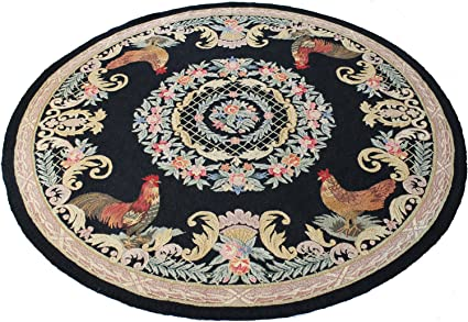 Amazon Com Country Heritage Rooster Rug 8 Round Kitchen Dining