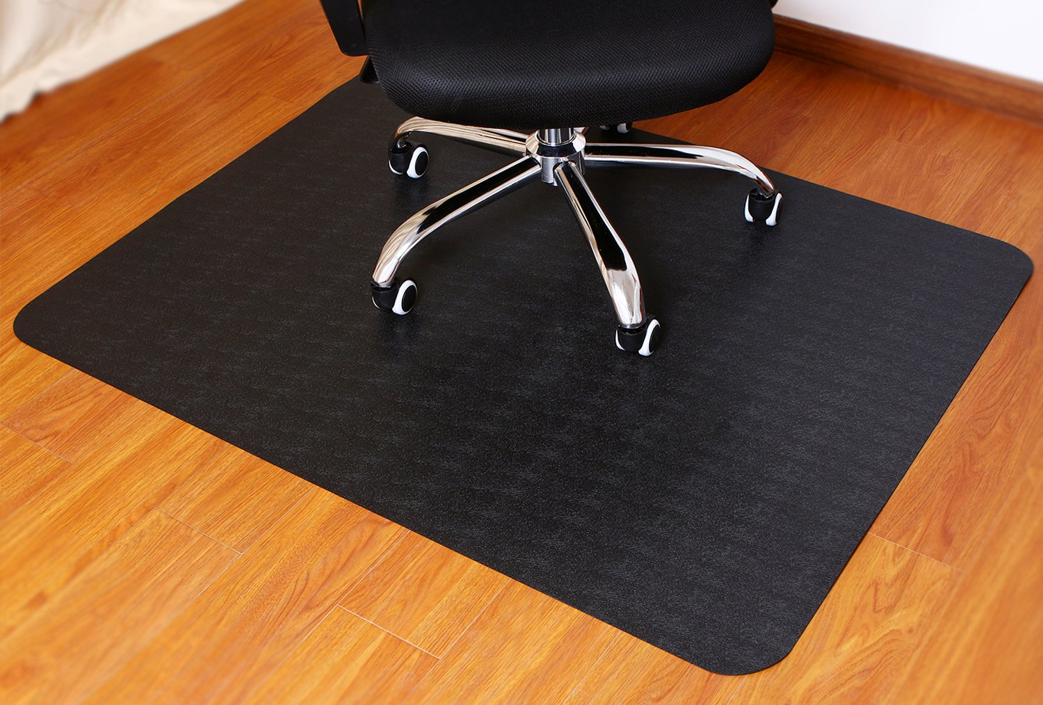 Polytene Office Chair Mat, 48''x36'',Hard Floor Protection Only with Rectangular Shaped Clear Anti Slide Film on The Underside, and mat Finish on The top, 1.55mm, Black