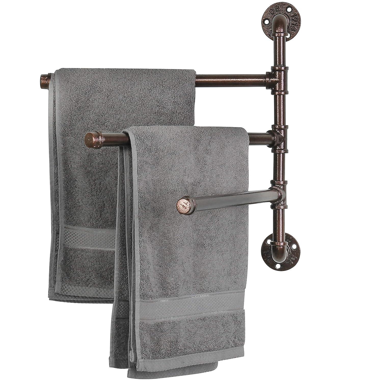 MyGift Wall-Mounted Industrial Pipe 3-Arm Swivel Towel Bar Rack, Dark Coffee