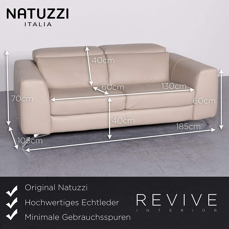 Natuzzi Designer Leder Sofa Garnitur Beige Echtleder ...