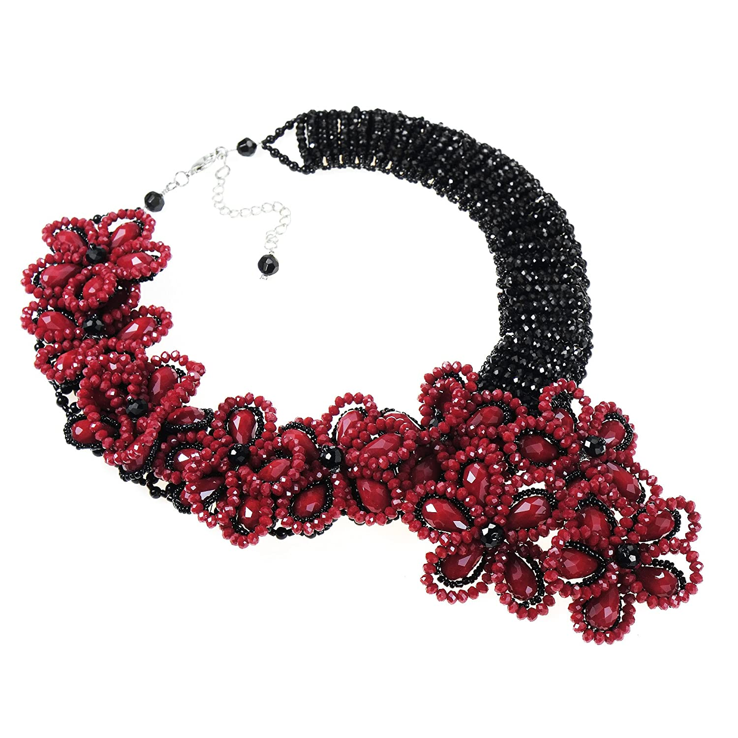 AeraVida Infinite Blossoms Black-Red Fashion Crystals and Fashion Beads on Base Metal Jewelry Wire Statement Necklace