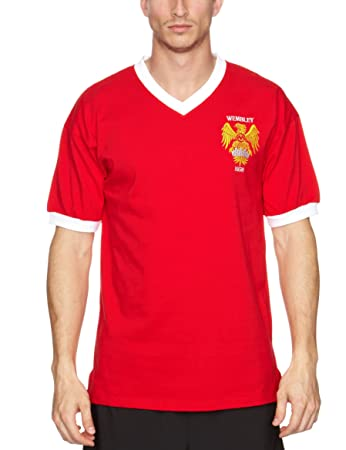 0599cf54066 Score Draw Official Retro Manchester United 1958 FA Cup Final Men's Retro  Football Shirt - Red