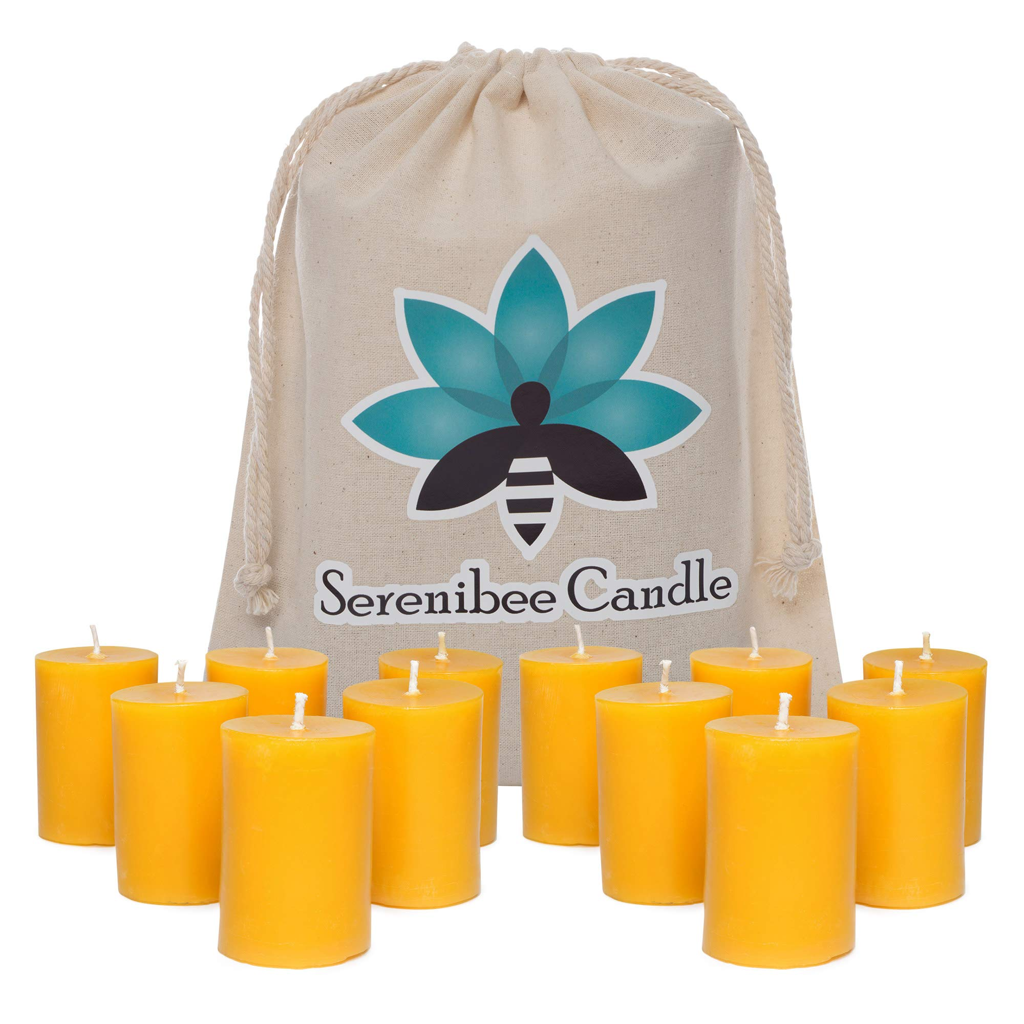 Serenibee Beeswax Votive Candles Set of 12 Pure Hand-Poured Eco Friendly Gift Set