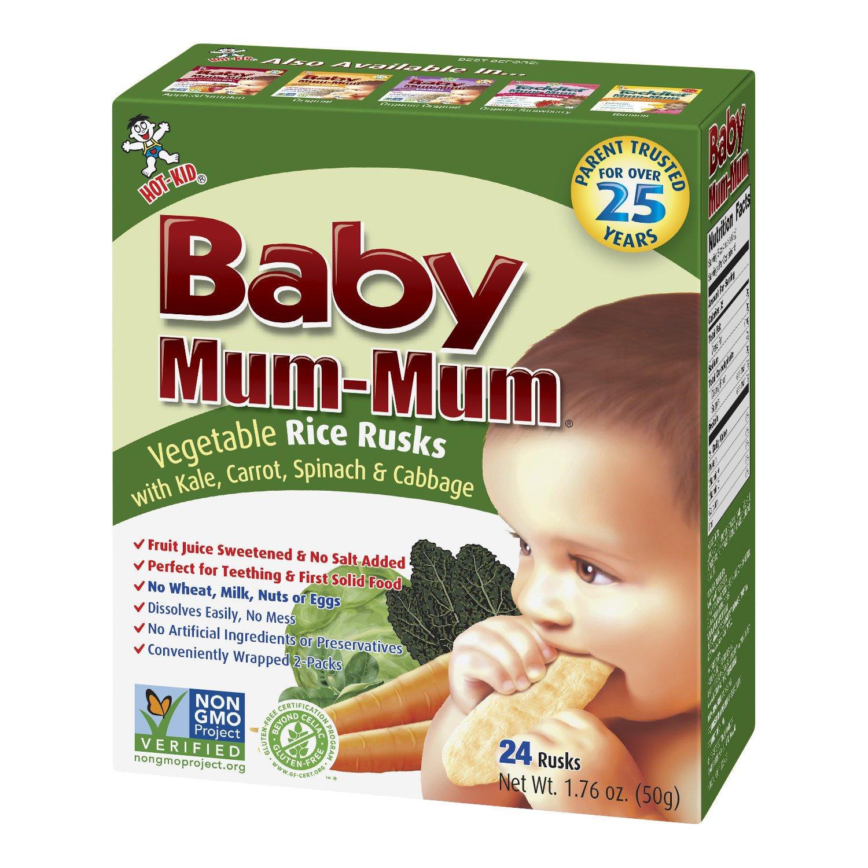 Hot-Kid Baby Mum-Mum Rice Rusks, Vegetable, 24 pieces, (Pack of 6)