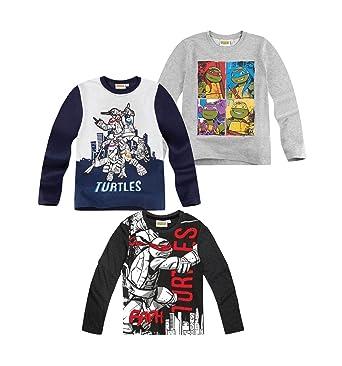Tortues Ninja Camiseta de Manga Larga - Para Niño: Amazon.es ...