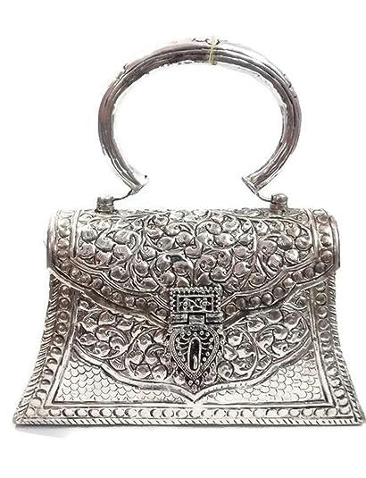 Talla de mano antiguo de plata embragues Vintage hecho a mano de latón monedero de metal mano embrague bolso para las mujeres partido embrague: Amazon.es: ...