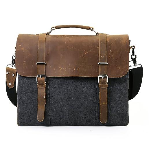 """4 opinioni per ECOSISU Borsa a Tracolla unisex In Tela Messenger Bag per Laptop 15.6""""- Fibbie"""