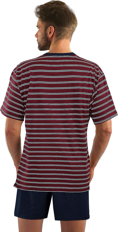 Sesto Senso Herren Schlafanzug Kurz Pyjama Baumwolle Kurzarm T-Shirt Zweiteilig Set