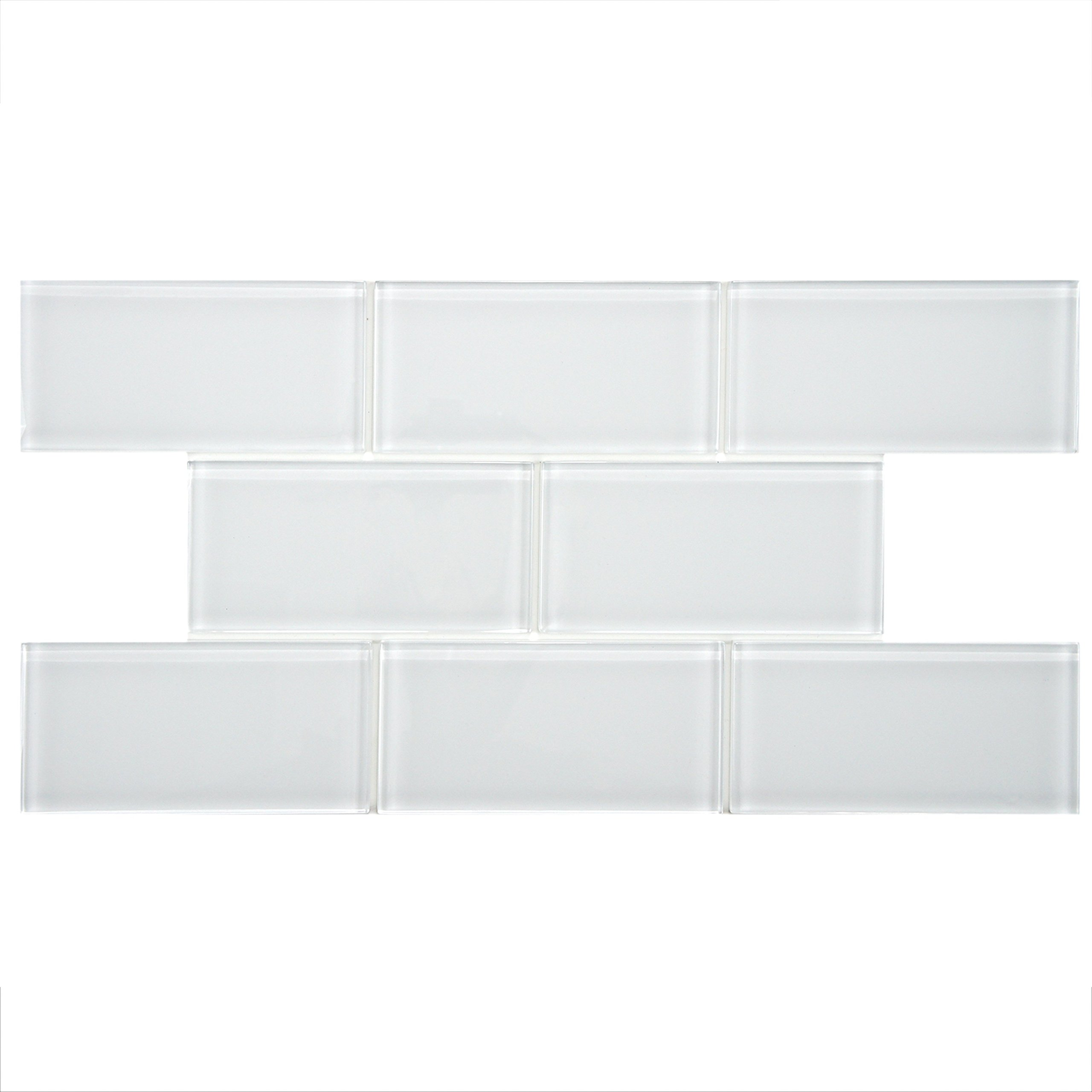SomerTile GDM3SIC Sierra Subway Glass Wall Tile, 3'' x 6'', Ice White by SOMERTILE