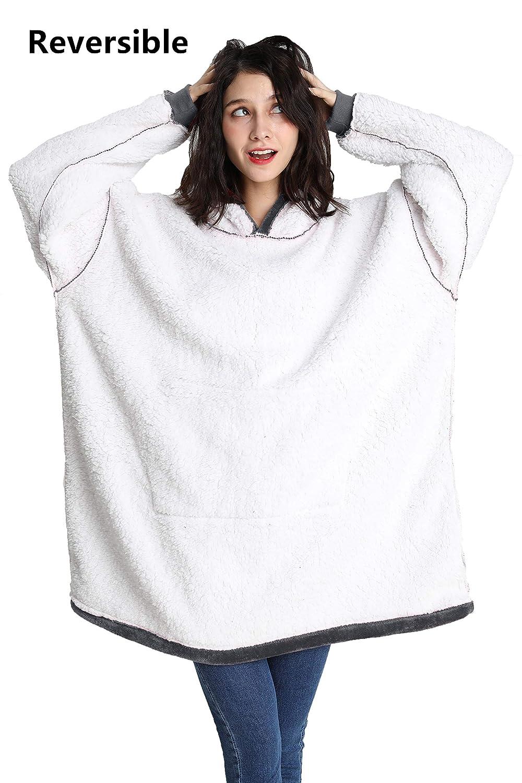 Cmtpuy Sweatshirt Blanket,Oversized Sherpa Hoodie,Fleece Blanket,Sherpa Pullover for Womens,Mens,Children,Wearable Blanket