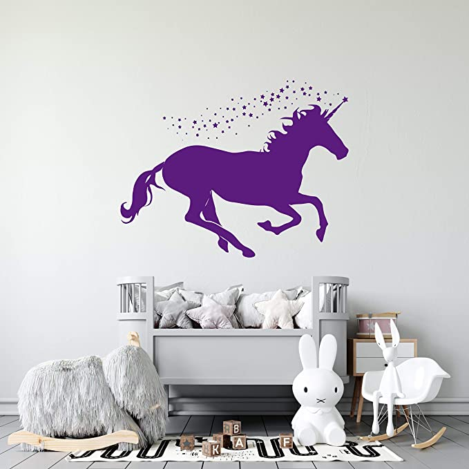 Custom Name Unicorn Pegasus Wall Decal Sticker Personalised Kids Room  WS-50971