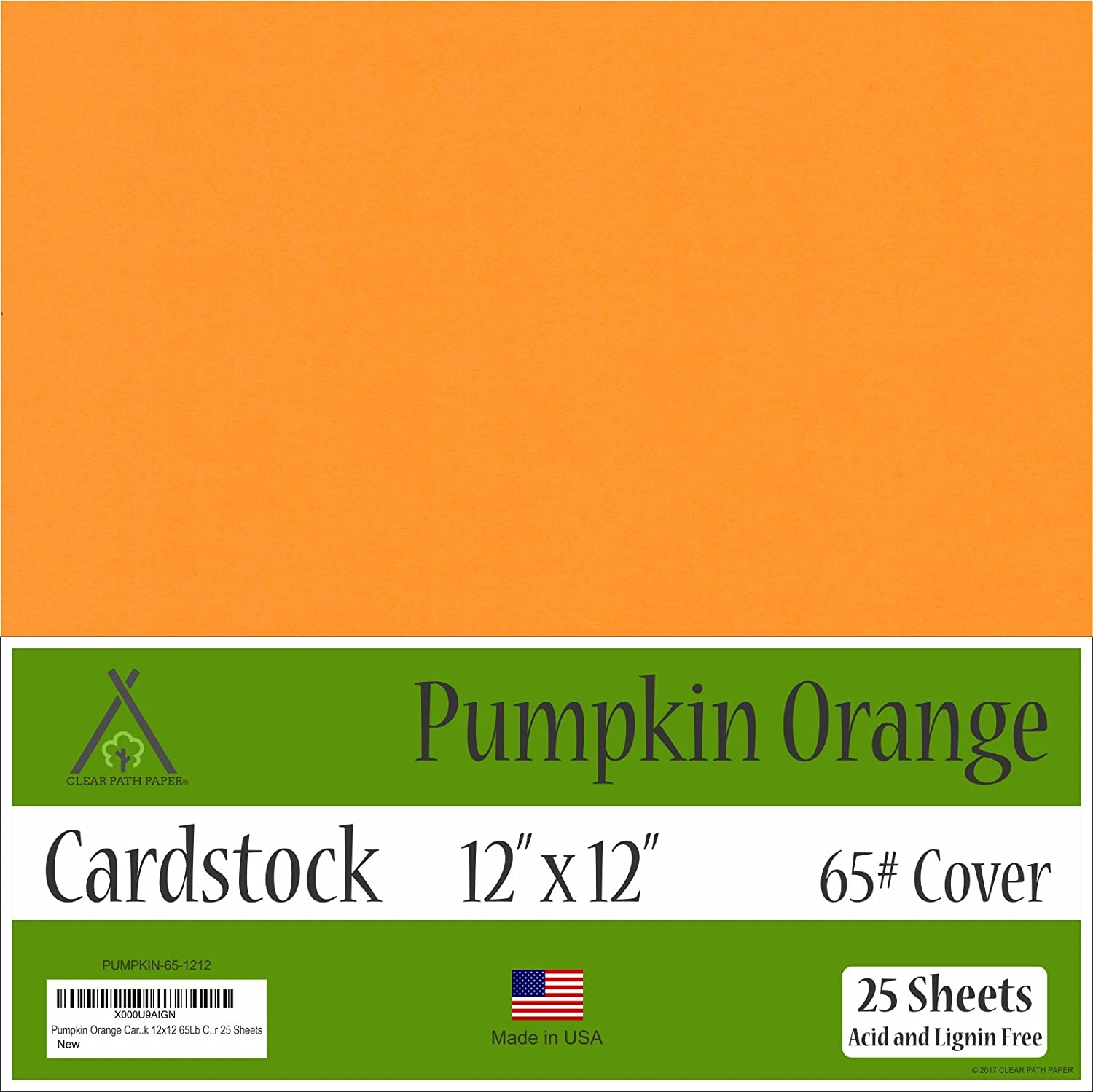 Pumpkin Orange Cardstock - 12 x 12 inch - 65Lb Cover - 25 Sheets Clear Path Paper CW-PUMPKN-1212-PK25