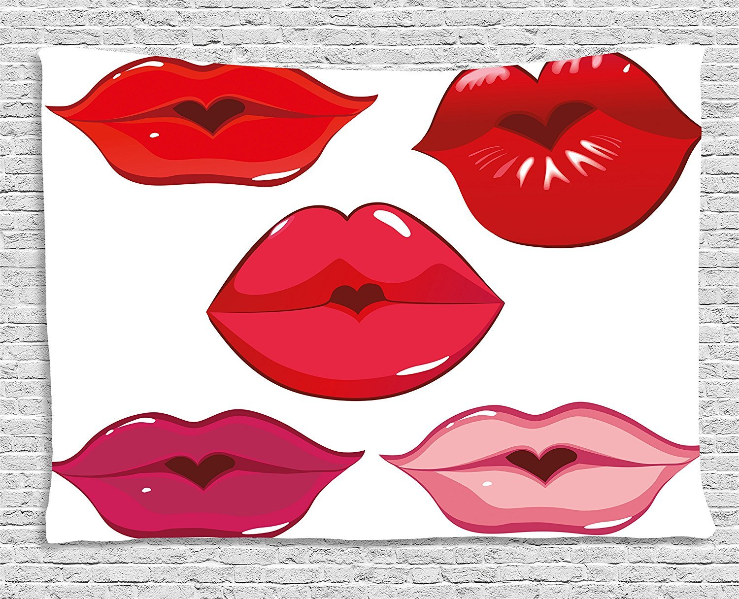 Kiss Tapestry, Woman Sexy Lip Heart Shape Kiss Female Valentine Affection Amour Make Up, Wall Hanging for Bedroom Living Room Dorm, 80 W X 60 L Inches, Red Rose Pink White