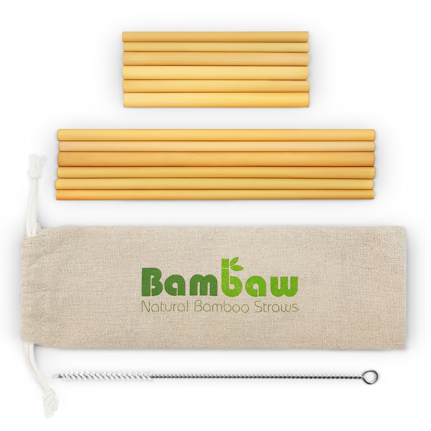 Reusable Bamboo Drinking Straws   BPA free   Ecological Alternative to Plastic straws   Strong & Durable Bamboo multi-usage straw   12 Straws   5.5 and 8.7 Inch   Bambaw