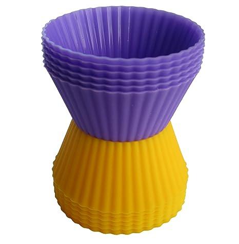 Silicona para Hornear tazas por MGE Chef – Juego de 12 moldes para cupcakes en dos