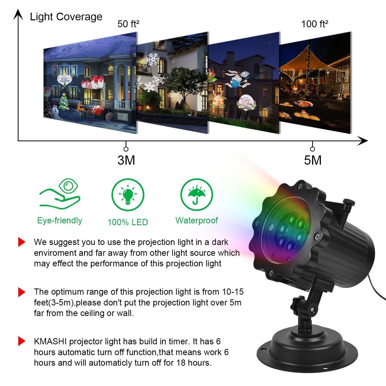 Proyector Navidad, KMASHI Proyector de luz LED 16 diapositiva de diseño lámpara de paisaje exterior decorativo lámpara de proyección Luz de jartin ...