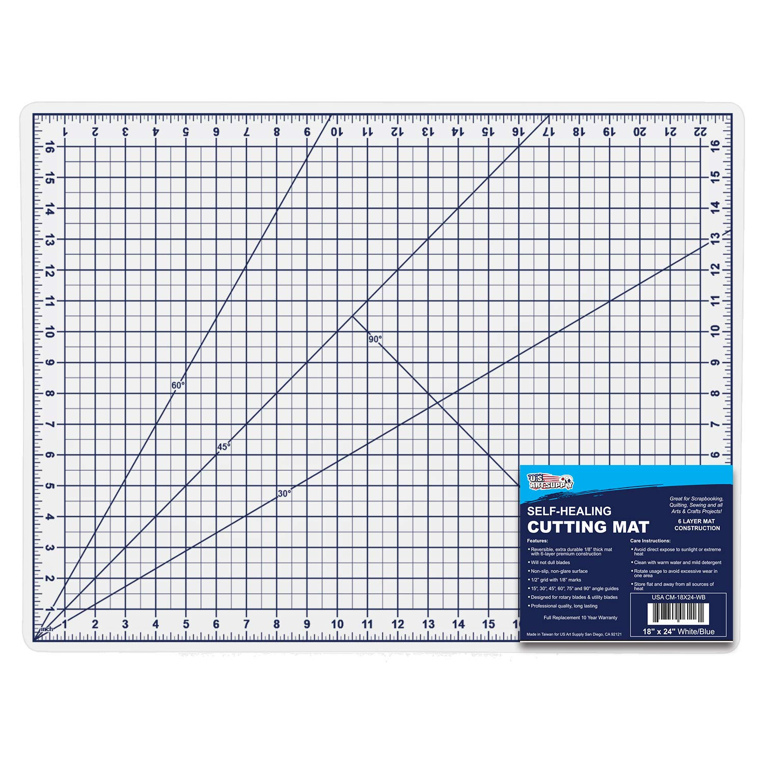U.S Art Supply 12 x 18 WHITE//BLUE High Contrast Professional Self Healing 6-Layer Double Sided Durable Non-Slip PVC Cutting Mat Great for Scrapbooking Sewing and all Arts /& Crafts Projects Quilting