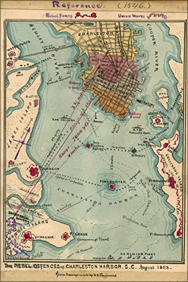 Amazoncom 24x36 Poster Map Of Charleston Harbor South Carolina