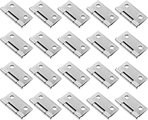 Mcredy 20pcs 1.5-Inch 304 Stainless Steel Square Corner Furniture Cabinet Door Folding Butt Hinge