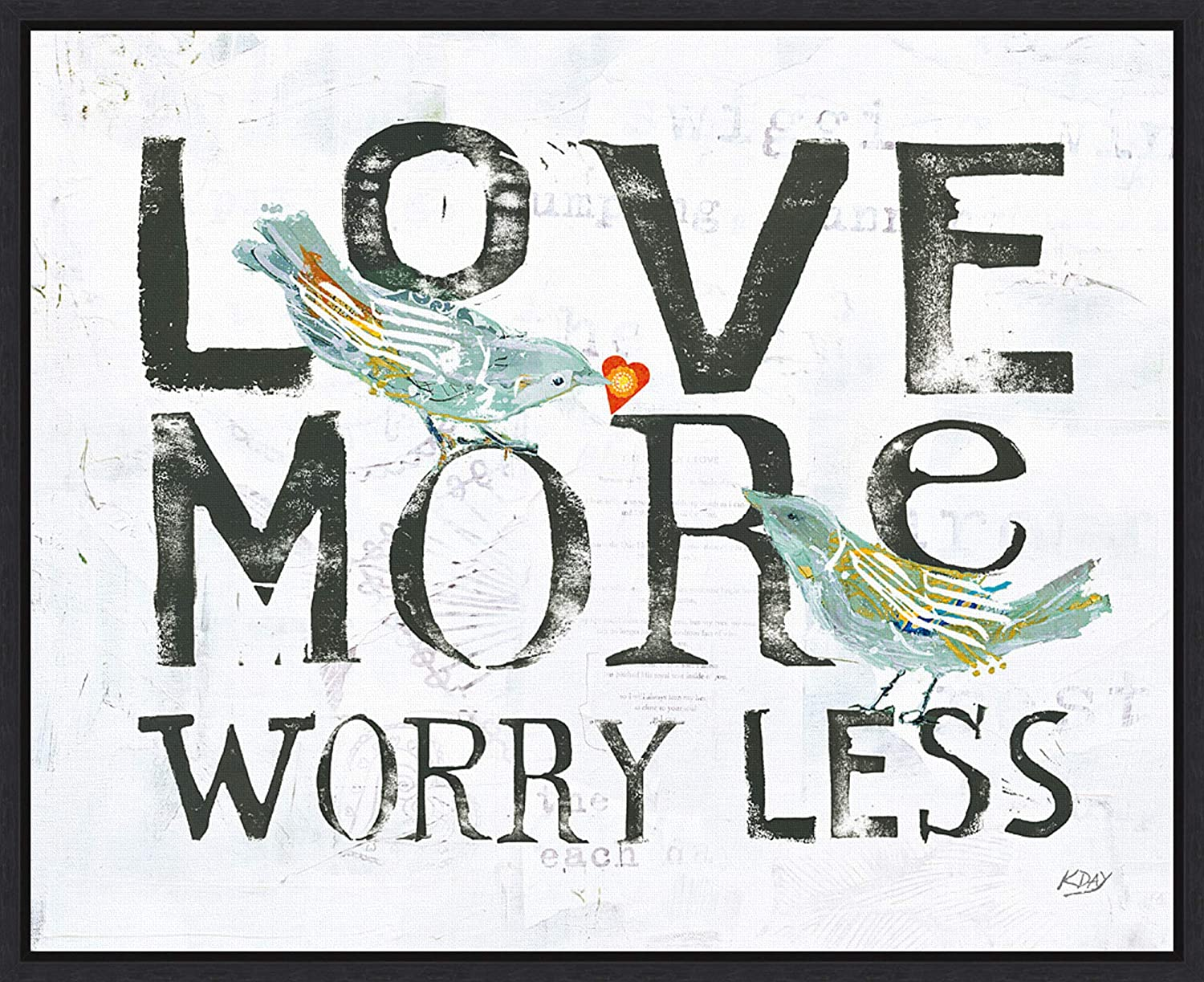 Framed Canvas Wall Art Print | Home Wall Decor Canvas Art | Love More Worry Less by Kellie Day | Modern Decor | Stretched Canvas Prints 19.62 x 16.00 in.