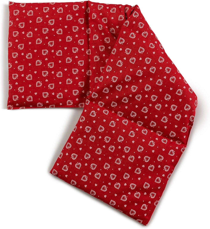 Saco térmico compartimentado en 4 con semillas de lino 60x20cm - rojo con corazones - Almohada térmica para microondas - Calor y frío - Cojín térmico con semillas