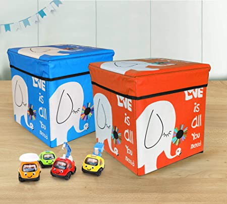TIED RIBBONS Set of 2 Toys Storage Box for Kids Plastic Stool for Kids Room Under Lid Padded Seat (30 cm X 28.5 cm X 28.5 cm, Multicolor)