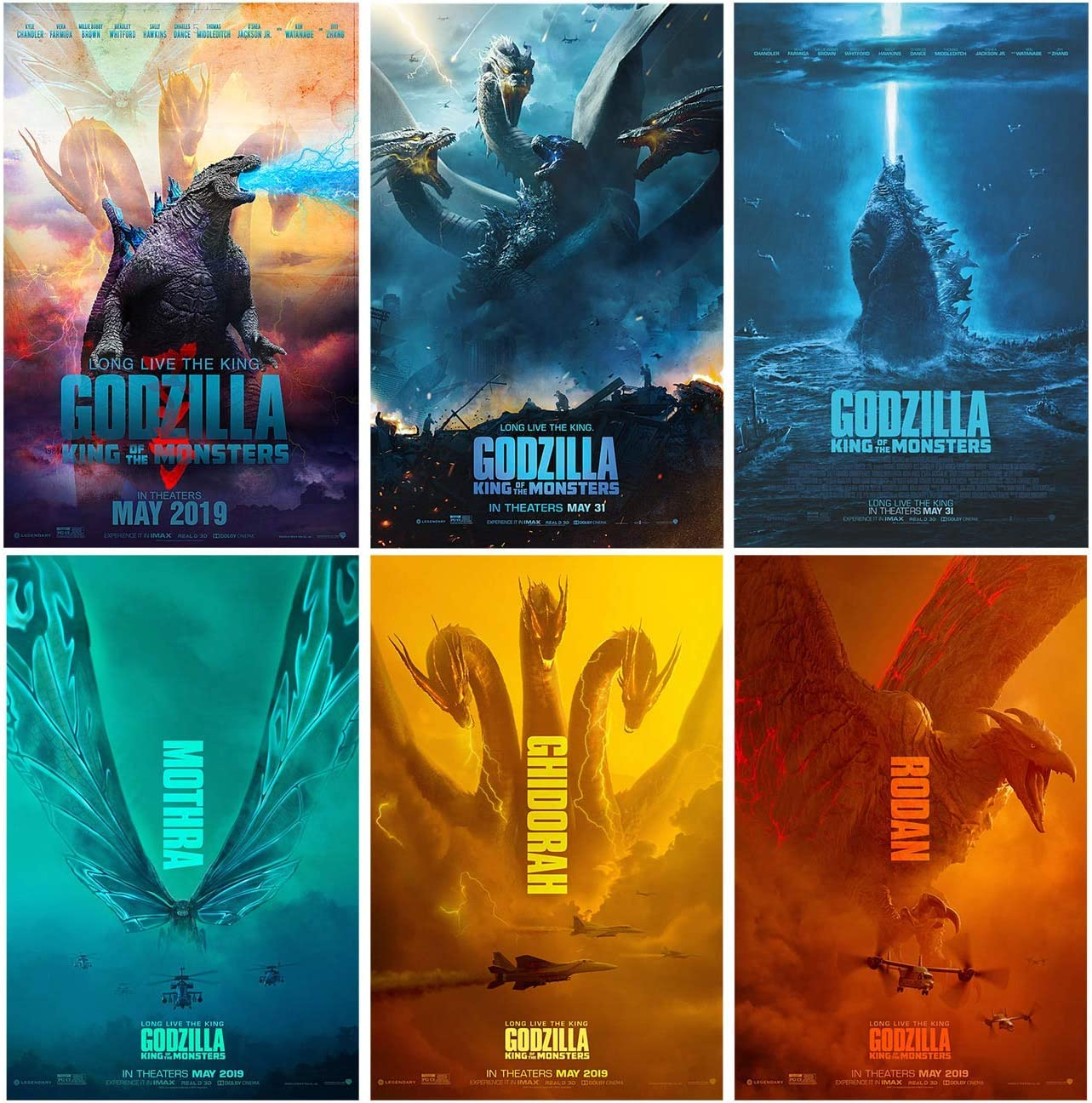 Amazon Com Set Of 6 Godzilla 2019 King Of The Monsters 11 X17