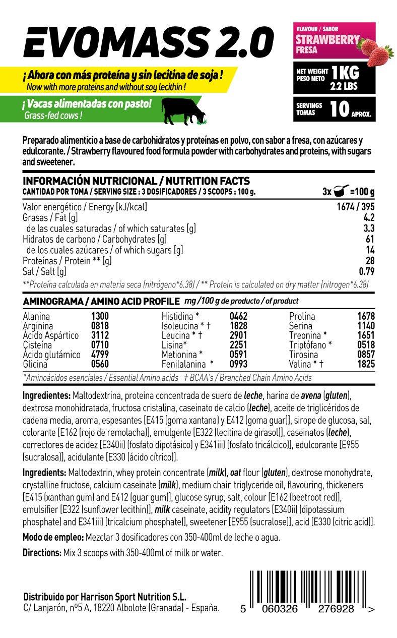 HSN SPORTS Ganador de Peso - Evomass 2.0 - Sabor Vainilla - 3000 g: Amazon.es: Salud y cuidado personal